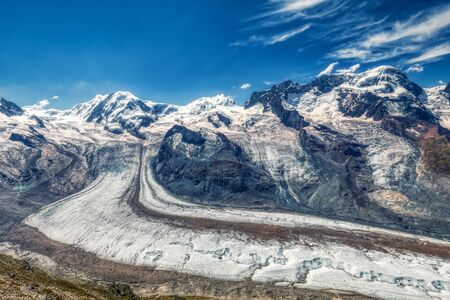 HDR panorama of famous gorner glacier near zermatt in switzerland, summer Imagens