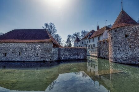 HDR shot of famous castle in hallwyl in switzerland, aargau