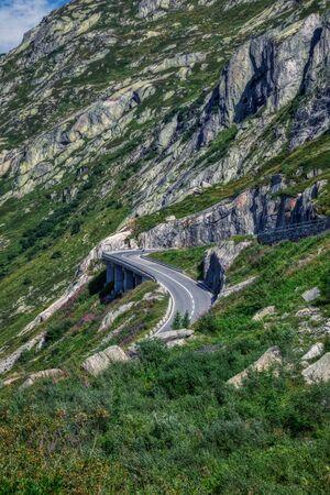 dam near grimsel pass between swiss alps, switzerland