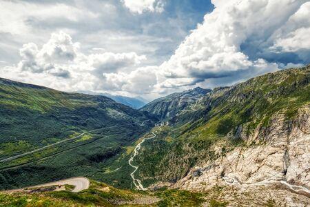 panorama view from rhone glacier to furka and grimsel pass near gletsch, switzerland 版權商用圖片