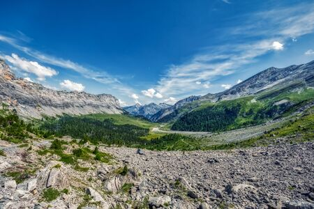 HDR panorama of classic Swiss hike over the Gemmi pass from Leukerbad to Kandersteg, summer Imagens