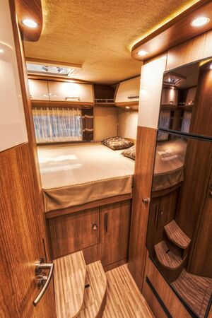 Modern interior of a new motorhome at the Suisse Caravan Salon in Bern, switzerland