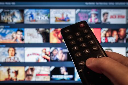 Multimedia Television video streaming, Media TV on demand, web banner background
