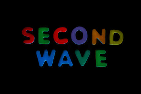 Words, second wave, written in colorful letters on black background