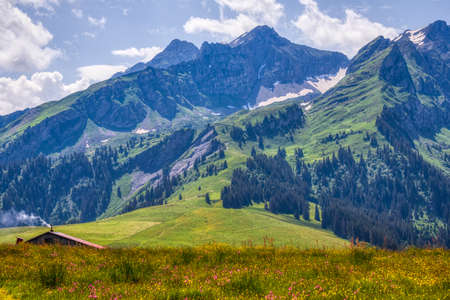 Amazing HDR shot of the Swiss Alps near Les Mosses while hiking, summer