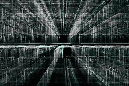Digital abstract bits data stream, cyber pattern digital background.