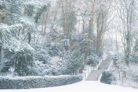 Snowy stairs at Lousberg in Aachen, Germany Banque d'images