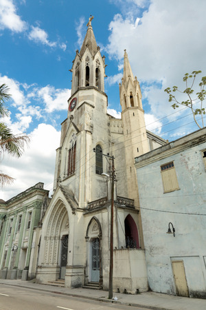 catolic: Holy heart of Jesus church at the parque de Marti in Camaguey in Cuba, photo taken on february 9th, 2014.