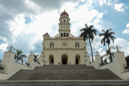 basillica: Low angle view over the stairs of cathedral El Cobre, near to Santiago de Cuba Stock Photo