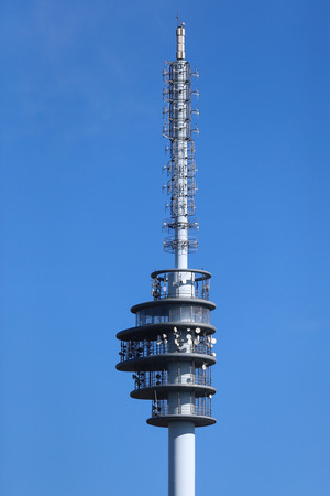 technological and communication: Telecommunications tower with dishes