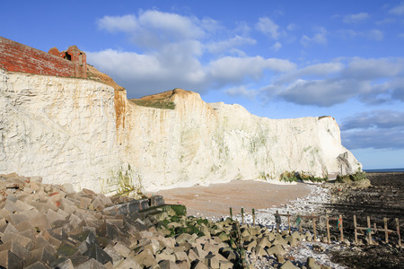 south downs: Chalky white cliffs at the South Downs National Park in SeafordPhoto taken on April 04, 2015 Stock Photo