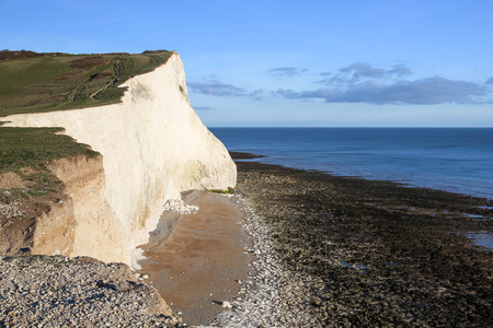 chalky: Chalky white cliffs at the South Downs National Park in SeafordPhoto taken on April 04, 2015 Stock Photo