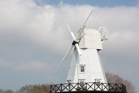 gibbet: White gibbet windmill by the river Tillingham in Rye, East Sussex, England, UK.Photo taken on April 07, 2015