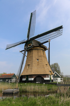 ble: Windmill near water in a traditional dutch landscape