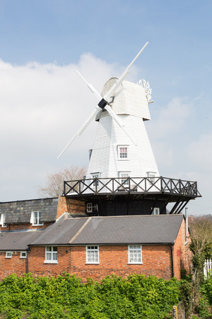 gibbet: Rye, England - April, 2015 - White gibbet windmill by the river Tillingham in Rye, East Sussex, England, UK.Photo taken on April 07, 2015
