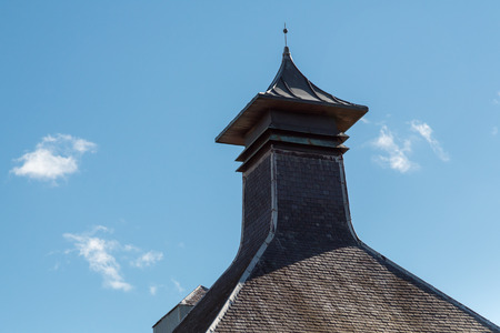 Ventilated pagoda roof from a scottish whisky distillery. Banco de Imagens
