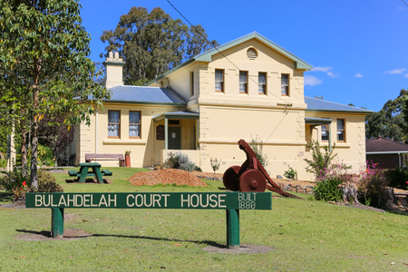 testify: The historic Bulahdelah Court House Built in 1881 overlooking the Myall River, New South Wales, Australia