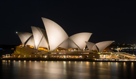 architectural heritage of the world: SYDNEY, AUSTRALIA - OCTOBER 14, 2016: Profile of Sydney Opera House at night