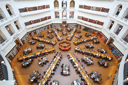 MELBOURNE, AUSTRALIA - October 31, 2016: State Library of Victoria, top view of interior of La Trobe Reading Room. It is the central library of the state of Victoria, Australia