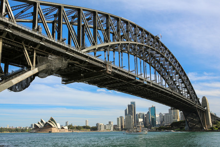 View of Sydney Harbour Bridge and the city of Sydney skyline seen from Milsons Point