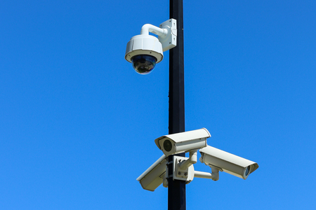 Set of security Cameras, CCTV, with Blue Sky