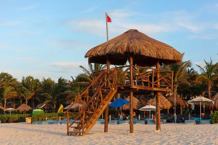 Lifeguard tower at the beach of Playa del Carmen, Quintana Roo, Mexico
