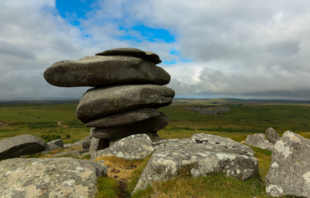 The Cheesewring, a natural rock formation on Stowes Hill at the Bodmin Moor near Minions in Cornwall - Photo taken on July 21, 2018.
