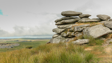 The Cheesewring, a natural rock formation on Stowe's Hill at the Bodmin Moor near Minions in Cornwall, panoramic view