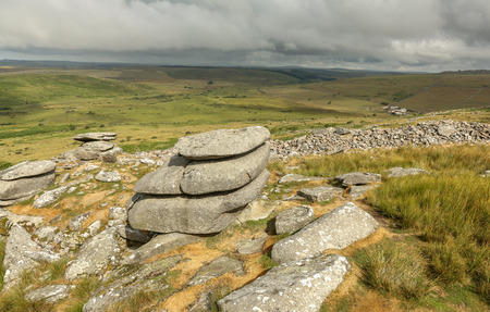 The Cheesewring, a natural rock formation on Stowes Hill at the Bodmin Moor near Minions in Cornwal Banco de Imagens