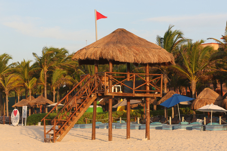 Lifeguard tower during runrise  at the beach of Playa del Carmen, Quintana Roo, Mexico