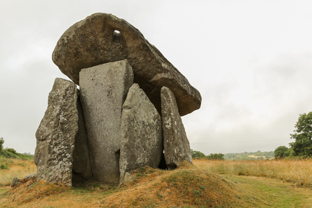 Trethevy Quoit stones near St. Cleer in Cornwall, England, is a ritual and ceremonial gathering place with upright stones, Neolithic from date.