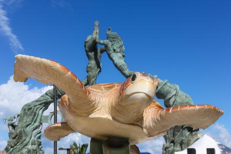 Turtle and arch beach Entrance in Playa del Carmen, Mexico. Riviera Maya.