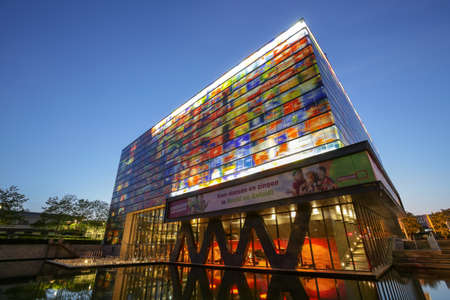 HILVERSUM, THE NETHERLANDS - MAY 08, 2020: The Netherlands Institute for Sound and Vision is the cultural archive and a museum. The Institute collects, looks after the Dutch audio-visual heritage. Publikacyjne