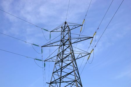 light transmission: Electrical pylone. Power line