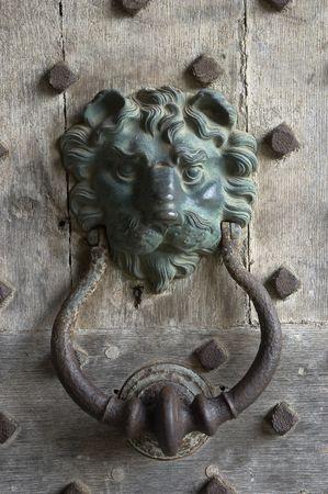 Antique door-knocker in shape of a lionhead at a wooden door photo