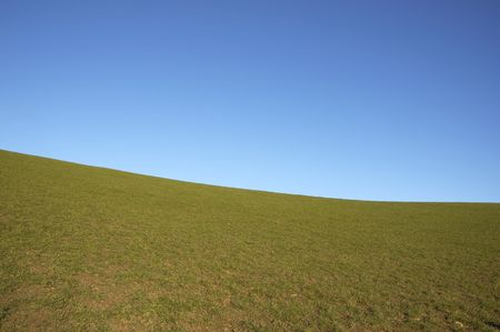 A green field with a blue sky in winter Stock Photo - 767264