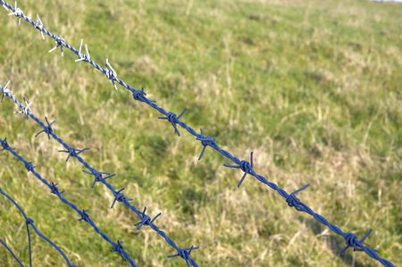 barbed hook wire: Barbed wire on a fence