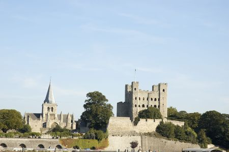A view of Rochester Castle and Cathedral from across the river Madway