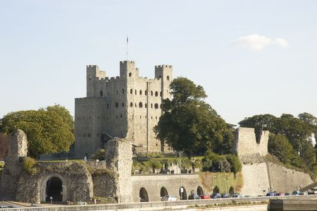 Rochester Castle on top of the hill Stock Photo
