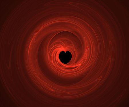 gravitational: A red  heart spiral patten