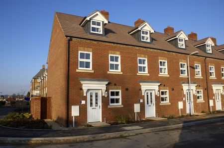 A row of new terraced houses photo