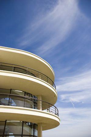 artdeco: An Art-deco balcony against a blue sky
