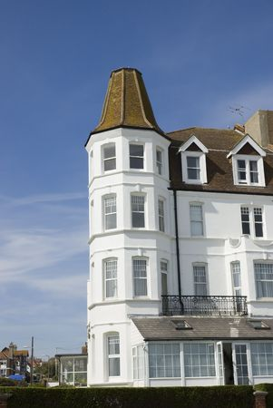 corner house: A victorian corner house with blue sky