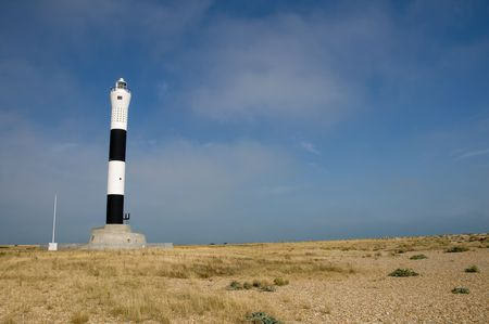 dungeness: The new lighthouse at Dungeness in Kent Stock Photo