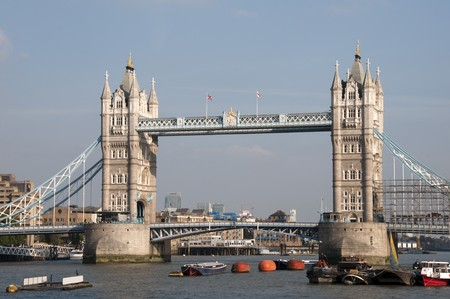 A view of Tower bridge and the river Thamse in London