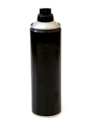 hairspray: A black hairspray canniste isolated on a white background Stock Photo