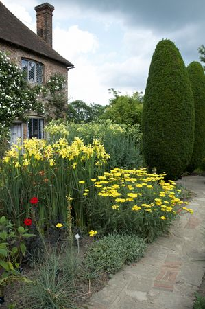 A   herbaceous border in an English cottage garden photo