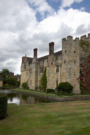 An English medieval castle in a garden setting