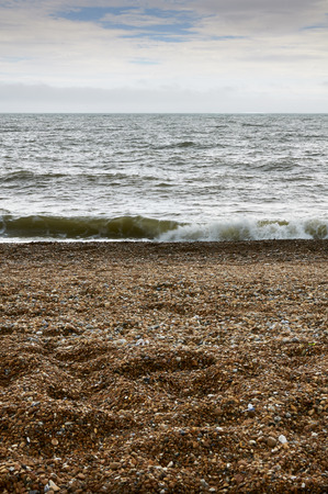 A view of a pebbley beach from a low angle