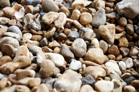A detailed view of pebbles on a beach